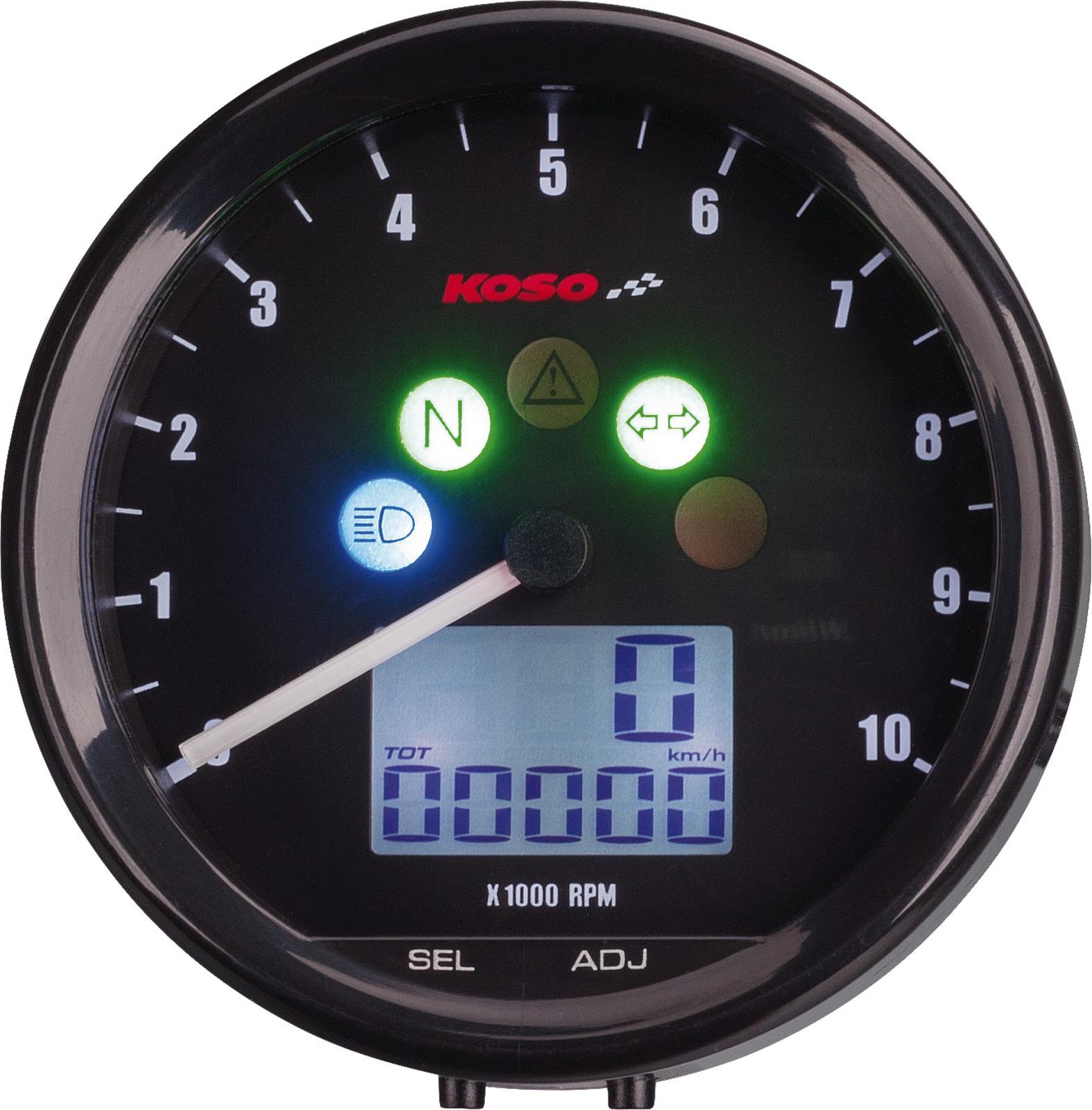 KOSO All In One Tachometer /'TNT 64/' 12V Drehzahlmesser in analoger Optik